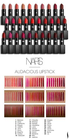 Sephora swatched the new NARS Audacious Lipsticks to see how the colors looked on different skin tones. Lipstick Colors, Lip Colors, Grey Lipstick, Lipstick Shades, Liquid Lipstick, All Things Beauty, Beauty Make Up, Lipgloss, Nars Audacious Lipstick Swatches