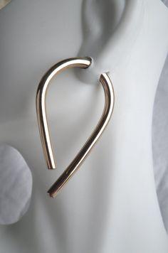 Gold 8 Gauge Long Hoop Earrings by SilverSunStudio on Etsy