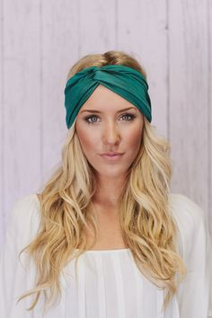Teal Turban Headband Workout Twist Stretchy Hair Bands (T01). $24.00, via Etsy.