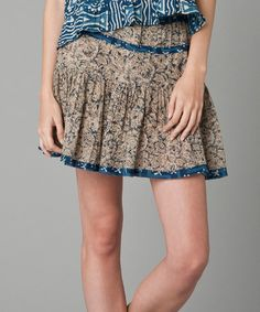 Look what I found on #zulily! Brown & Blue Floral Miniskirt #zulilyfinds