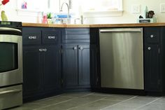 Cassie's Painted Kitchen Cabinets with General Finishes Milk Paint from Rockler