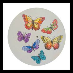 Just a little taste of early springtime, nice isn't it? Butterflies - Animal Paintings - Round Vinyl Record - Original Painting - Acrylic Paint - Pen and Ink - Free USA Shipping - Ships Worldwide Modern Art Paintings, Your Paintings, Animal Paintings, Original Paintings, Original Artwork, Vsco, Record Wall Art, Acrylic Paint Pens, Cross Art