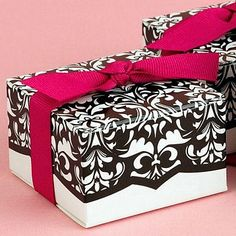 Black and White Damask Boxes with Fuchsia Ribbon