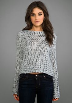 Shop for Cheap Monday Cher Sweater in Grey Melange at REVOLVE. Free day shipping and returns, 30 day price match guarantee. Poncho Pullover, Black Leather Pants, Garter Stitch, Knit Fashion, Mode Outfits, Revolve Clothing, Crochet Clothes, Pulls, Knitwear