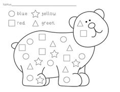 Simple activity for identifying shapes and color words.
