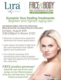 Join us for our class this Sunday at the Face & Body Show! Dynamic Duo Peeling Treatment, Brightening & Tightening Aging Skin!