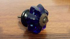 Lot of 6 New Cobalt Blue 8 Point Cut Glass Knob Pull Cabinet Handle Hardware #LillianVernon