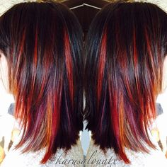 Instagram media by karusalonatx - Spice your hair color up this fall with some red peek a boo highlights! Perfect for a medium length hair haircut with layers. HOW TO on previously colored Level 5 Hair: Pre-lighten hair to a level 8 -9 and then deposit warm shades of reds using Wella Color Touch 6/4, 8/43, 9/3 + 6 vol 1) Begin by taking a diagonal slice 1 inch behind front hair line and 1 inch above ear. Take 3 back to back to back slices using Blondor lightener  2) Leave a 1/2 inch of hair…