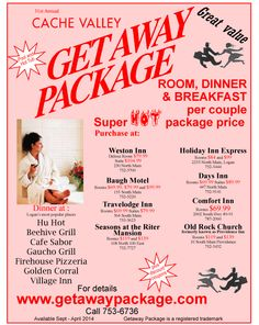best bang for ur buck in cache valley utah. we like crystal inn to sleeo n swim n golden corral with it's chocolate bar to dine