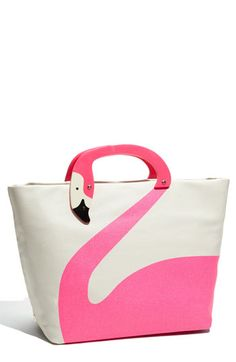 """Pink flamingo """"Tropica Jezibel"""" tote by Kate Spade. $275 *This would be so cute w/ a Lilly Pulitzer outfit*"""