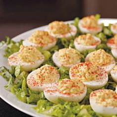 Deviled Egg Upgrade  Take hard-boiled Easter eggs to the next level with deviled eggs, a classic party snack and the perfect recipe for chefs-in-training. My grand~girls love deviled eggs!