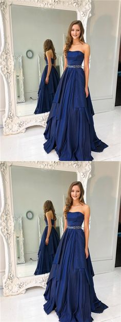 Sweetheart Prom Dresses, Beaded Prom Dresses, Navy Prom Dresses, Prom Dresses, PD0633