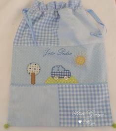 Rute Granja® Artesã ♥: Bolsa fraldas - Este saquinho é para o João Pedro levar uma muda de roupa para a escolinha:)