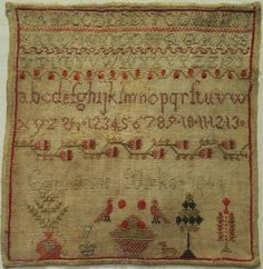 Small Early 19th Century Alphabet Motif Sampler by Catharine Birks 1844 | eBay