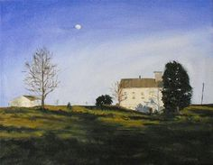 """""""Moon Rising Over Rt. 71~ 18x14~ Oil on Canvas"""" by Vincenza Harrity, $300.00"""