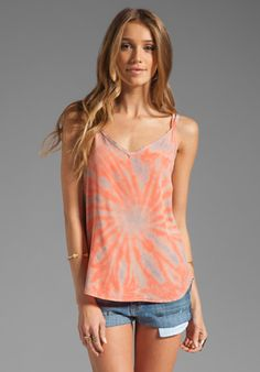 Gypsy 05 Emily Silk Spaghetti Strap Tank Top in Peach