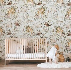 OH Deer Wallpaper Forest Bunny Scene Mural Floral Nursery Hirsch Wallpaper, Deer Wallpaper, Temporary Wallpaper, Nursery Wallpaper, Nature Wallpaper, Custom Wallpaper, Wall Paper Decor, Girl Nursery, Nursery Decor