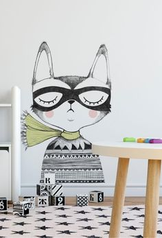 Studio Loco is a children's lifestyle brand, designing and selling contemporary nursery decor. Nathalie De Bock, the stylist and graphi. Wall Stickers Love, Nursery Stickers, Kids Stickers, Wall Decals, Vinyl Decals, Wall Art, Contemporary Nursery Decor, Nursery Wall Murals, Retro