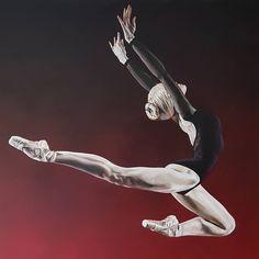 'Spring' - acrylic original on fire red spray paint by nickpaintsart. 1m x 1m box canvas. Swipe left for detail pics  nickpaintsart#ballet #ballerina #balletpainting #balletart #dance #dancer #moderndance #contemporarydancer