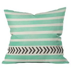 Mint Stripes and Arrows Pillow