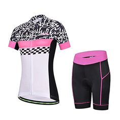 Baleaf Women's Short Sleeve Cycling Jersey 3D Padded and Shorts Set Doodle Style Size XL - http://ridingjerseys.com/baleaf-womens-short-sleeve-cycling-jersey-3d-padded-and-shorts-set-doodle-style-size-xl/