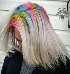 Rainbow Roots... @hairbykaseyoh is the artist... Pulp Riot is the paint.