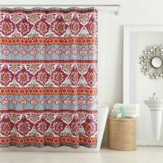 Love our Anthology Theadora bedding? You can make your bathroom just as bright because we've got the shower curtain to match! #BedBathAndBeyond