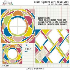 Crazy Squares 07 Templates by Akizo Designs for Digital Scrapbooking Layout Page
