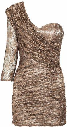 Ruched Metallic-Lace Dress