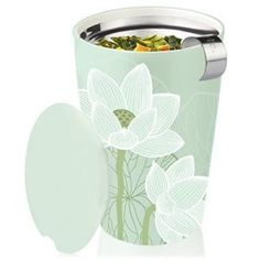 Tea Forté® KATI Single Cup Loose Leaf Tea Brewing System, Insulated Ceramic Cup with Tea Infuser and Lid, Lotus