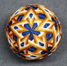 "3"" diameter temari with interlocking star pattern, newly listed at The Illustrated Egg! http://www.etsy.com/shop/TheIllustratedEgg"