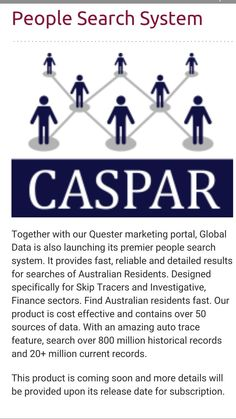 Global data home of the Caspar investigation search portal & the Quester lead generation portal. contact dominic@globaldata.net.au  Find new clients from your laptop 24/7.