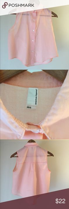Crop Lawn Button-Up A beautiful, delicate too. It's sheer, soft lawn material is perfect for ethereal spring/summer looks. In a nice shade of peach, sized xs/s. American Apparel Tops Button Down Shirts