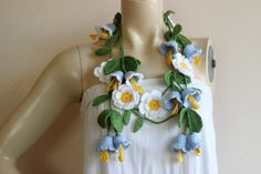 Bell Crochet Scarf Flower Lariat Necklace Scarf by dreamhouse1