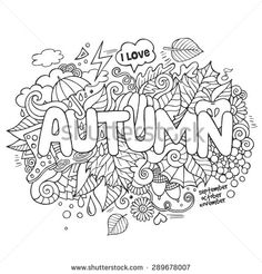 Autumn hand lettering and doodles elements background. Vector illustration - stock vector