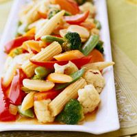 Ginger Vegetable Stir-Fry  Baby corn, pea pods and water chestnuts add an Asian flavor to this vegetable side dish recipe.