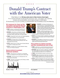 """On Oct. 22, 2016, Donald J. Trump issued what he called his """"Contract with the American Voter."""" This was a specific plan of action that would guide his administration, starting from the first day, and listed 60 promises."""