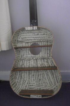 my take on the guitar shelf. Guitar Crafts, Guitar Diy, Broken Guitar, Guitar Shelf, Pallet House, Music Decor, Country Furniture, Unique Home Decor, Furniture Making