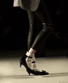 Socks and heels at Saint Laurent http://www.garancedore.fr/en/2013/10/17/the-debate-socks-heels/