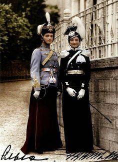 Princesses Olga and Tatyana of the Russian royal family before the Revolution, 1913.