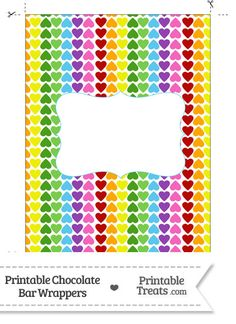 Rainbow Hearts Chocolate Bar Wrappers from PrintableTreats.com