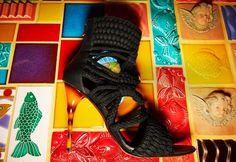 Kim Kardashian Flaunts Cleavage in Black Balmain Braided Rope Sandals