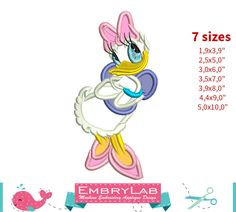 Applique Daisy Duck. Mickey Mouse and Friends. Machine Embroidery Applique Design (16296) by EmbryLab on Etsy