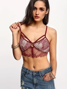 Online shopping for Cut Out Lace Bralette BURGUNDY from a great selection of women's fashion clothing & more at MakeMeChic.COM.