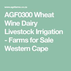 Wheat Wine Dairy Livestock Irrigation - Farms for Sale Western Cape Irrigation, Livestock, West Coast, Farms, Cape, Dairy, Health, Mantle, Homesteads