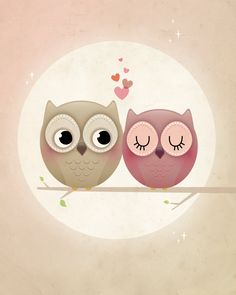 Owl art print valentine print love by IreneGoughPrints on Etsy Owl Illustration, Owl Cartoon, Owl Always Love You, Owl Art, Cute Owl, Nursery Prints, Cute Drawings, Owl Drawings, Painted Rocks