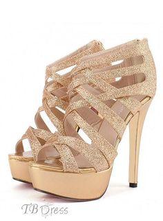 c1e671bb1dd Golden Stiletto Heel Strappy Women s Sandals
