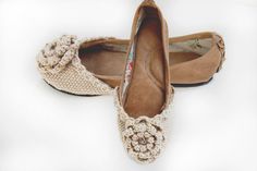 Hand woven wool and leather Brittany ballet flat shoes in mud brown and linen beige custom made on Etsy, $121.52
