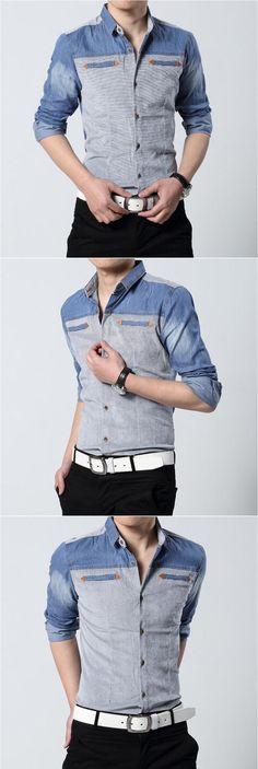 Aliexpress.com: Compre 2015 Denim Patchwork homens novo camisa dos homens camisa de manga comprida personalizado camisas de vestido ocasional camisa Social masculina de confiança Camisas Casuais fornecedores em AOXUAN CLOTHING CO.,Ltd