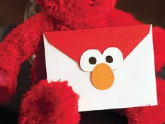 Elmo envelope @Nicole Soares this would be cute to send out the party invitations or thank you notes